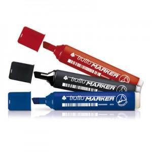 pennarelli tratto marker punta scalpello nero/rosso/blu pezzi 12 anche assortiti