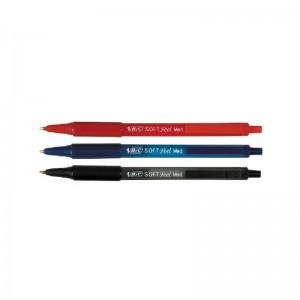 sfere bic soft feel clic grip 1.0 nero/rosso/blu pezzi 12 monocolore