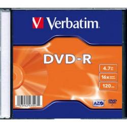 dvd-r verbatim 4.7 gb 16 x speed 120 minuti pezzi 5