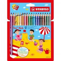 pastelli stabilo trio maxi 18 colori con temperino